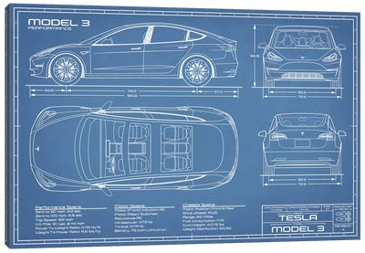 Tesla Model 3 (Performance) Blueprint Canvas Art Print