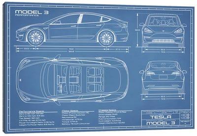 Tesla Model 3 (Performance) Blueprint Canvas Art Print