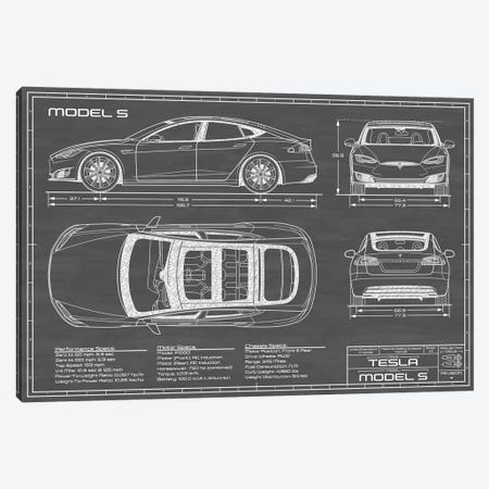 Tesla Model S (2016-2020) | Black Canvas Print #ABP67} by Action Blueprints Canvas Art Print