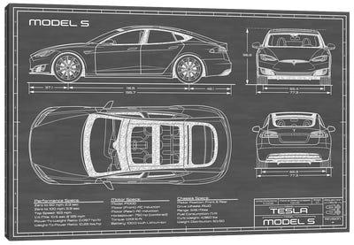 Tesla Model S (2016-2020) | Black Canvas Art Print