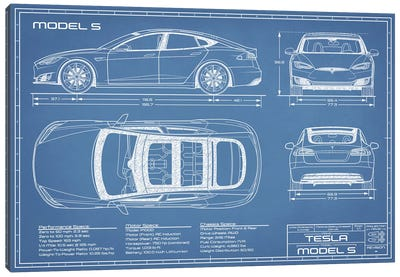 Tesla Model S (2016-2020) Blueprint Canvas Art Print