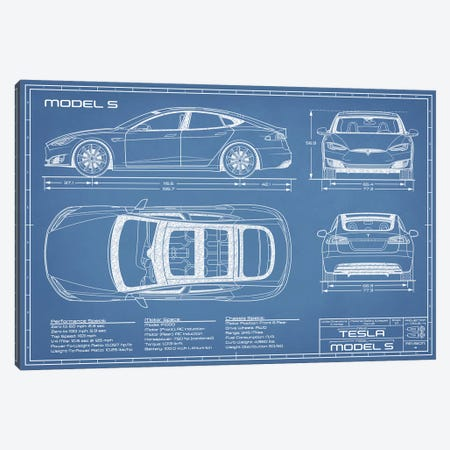 Tesla Model S (2016-2020) Blueprint Canvas Print #ABP68} by Action Blueprints Canvas Wall Art