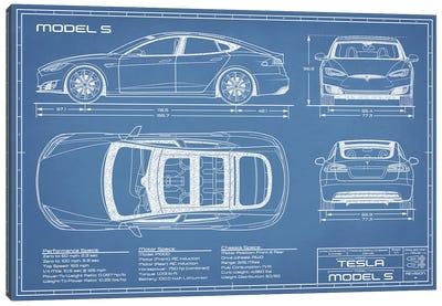 Tesla Model S (2016-2020) Blueprint Canvas Art Print