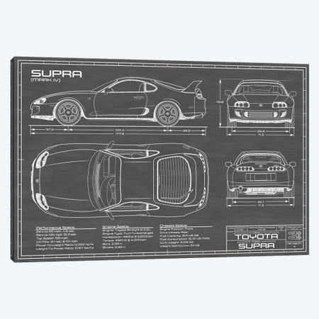 Toyota Supra MKIV | Black Canvas Print #ABP69} by Action Blueprints Canvas Artwork