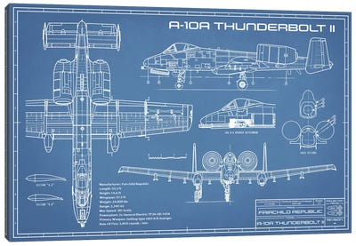 A-10 Thunderbolt II [Warthog] Airplane Blueprint Canvas Art Print