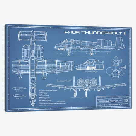 A-10 Thunderbolt II [Warthog] Airplane Blueprint Canvas Print #ABP6} by Action Blueprints Canvas Wall Art