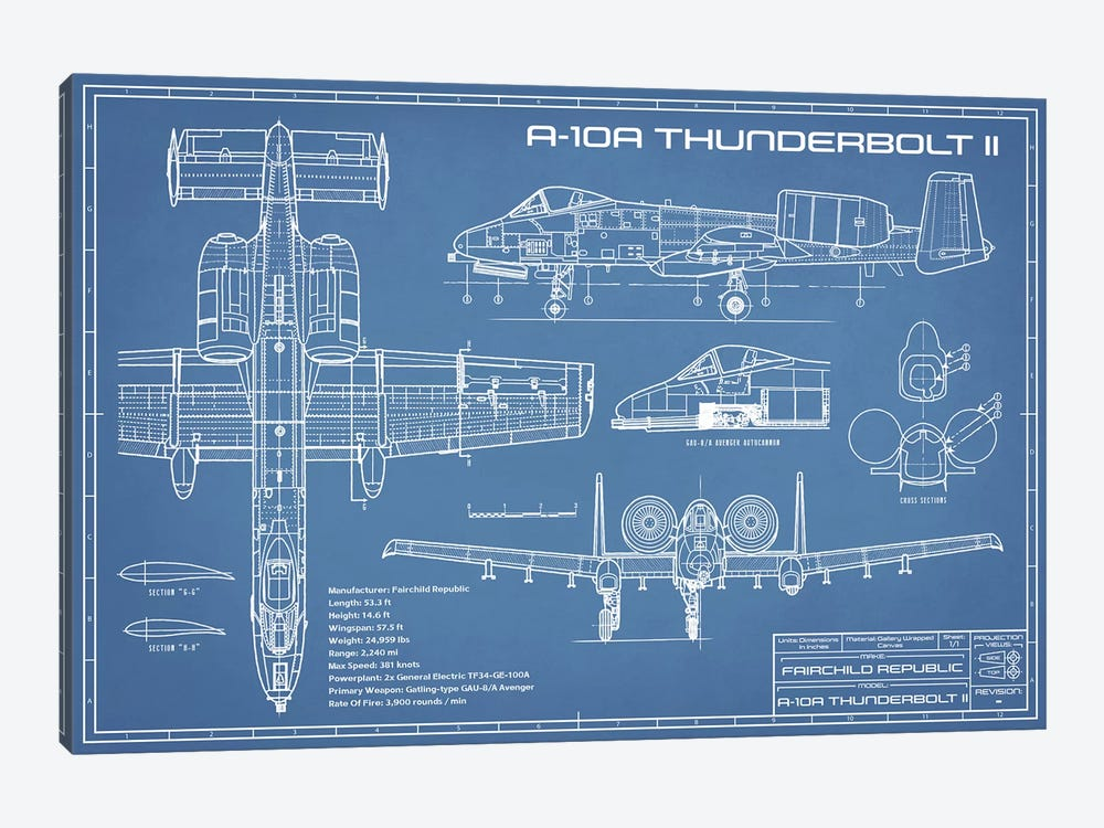 A-10 Thunderbolt II [Warthog] Airplane Blueprint by Action Blueprints 1-piece Canvas Art