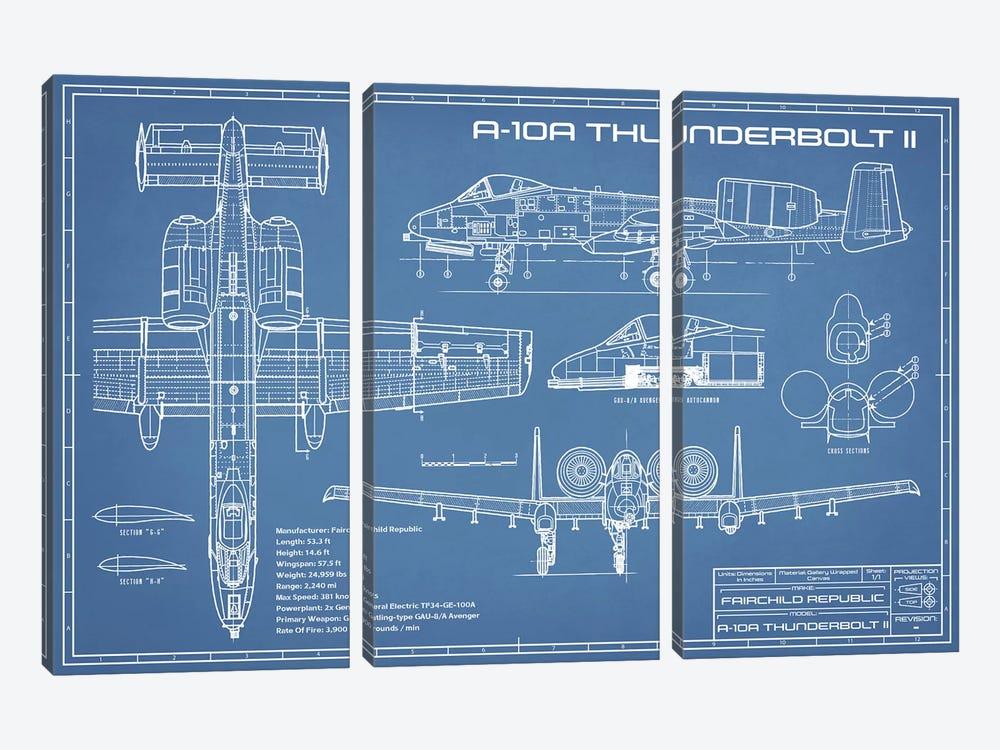 A-10 Thunderbolt II [Warthog] Airplane Blueprint by Action Blueprints 3-piece Canvas Art