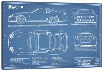 Toyota Supra MKIV Blueprint Canvas Art Print
