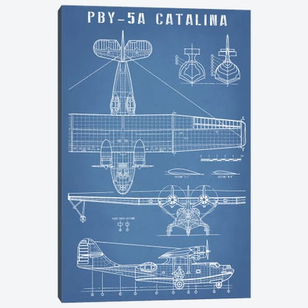 Vintage Seaplane Aircraft Blueprint Canvas Print #ABP72} by Action Blueprints Canvas Print