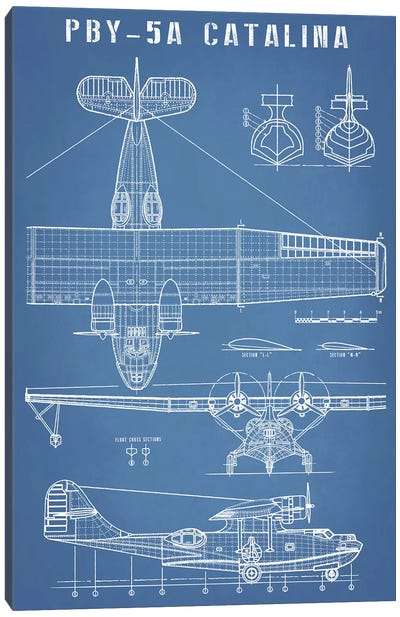 Vintage Seaplane Aircraft Blueprint Canvas Art Print