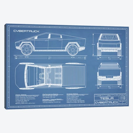 Tesla Cybertruck (2020-2022) Blueprint Canvas Print #ABP73} by Action Blueprints Canvas Print