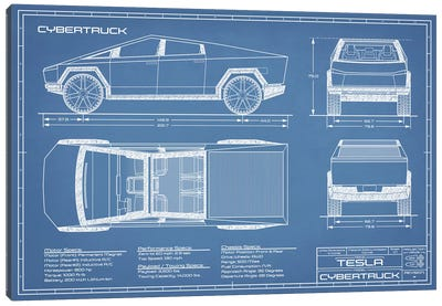 Tesla Cybertruck (2020-2022) Blueprint Canvas Art Print
