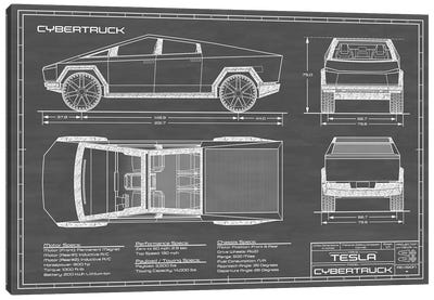 Tesla Cybertruck (2020-2022) Black Canvas Art Print