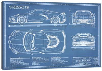 Corvette (C8) Stingray Blueprint Canvas Art Print