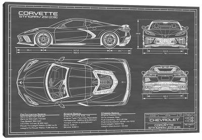 Corvette (C8) Stingray Black Canvas Art Print