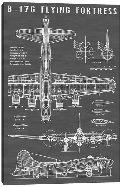 B-17 Vintage Bomber Airplane | Black Canvas Art Print