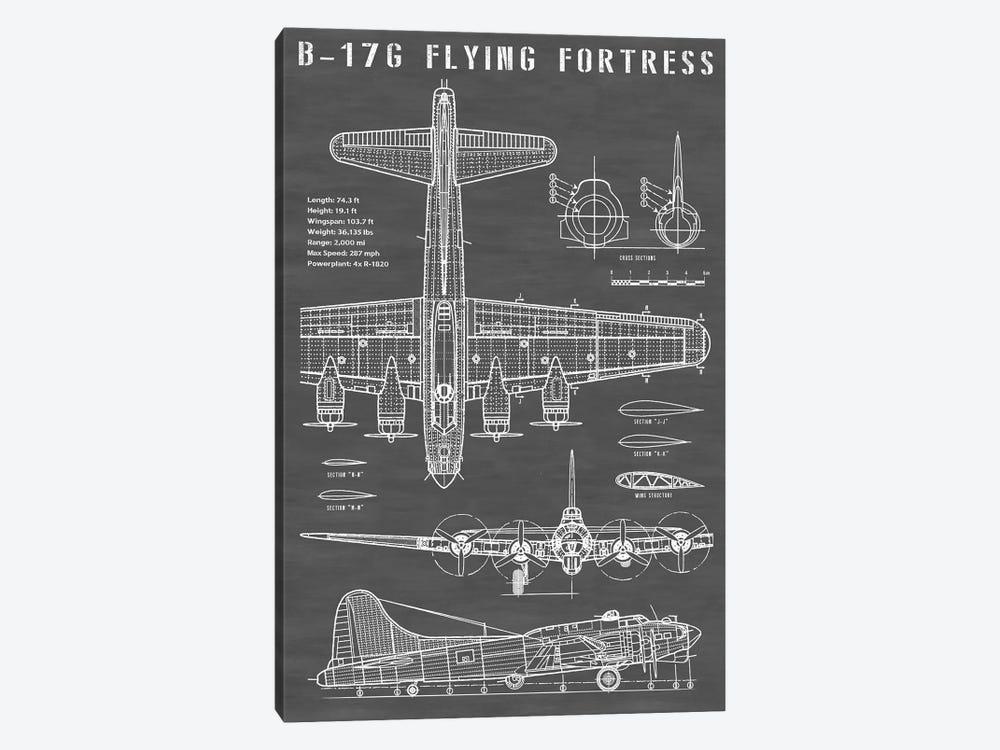 B-17 Vintage Bomber Airplane | Black by Action Blueprints 1-piece Art Print