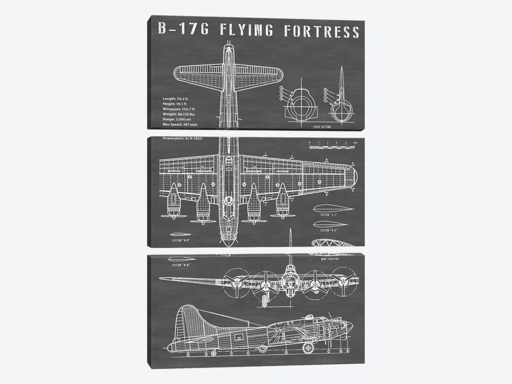 B-17 Vintage Bomber Airplane | Black by Action Blueprints 3-piece Canvas Print