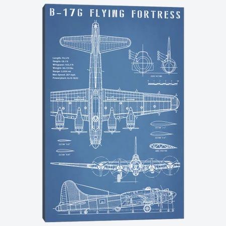 B-17 Vintage Bomber Airplane Blueprint Canvas Print #ABP8} by Action Blueprints Canvas Print