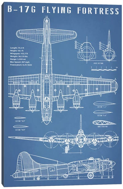 B-17 Vintage Bomber Airplane Blueprint Canvas Art Print
