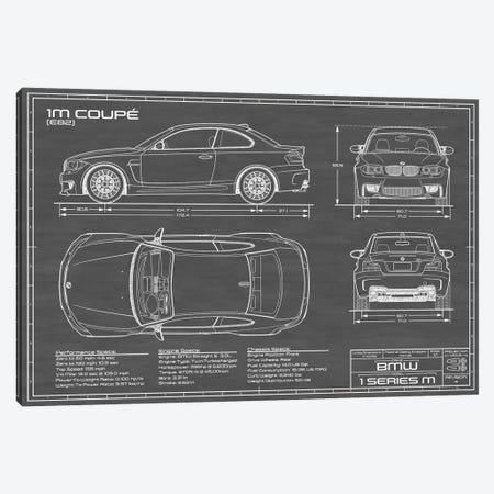 BMW 1M Coupe (F82) | Black Canvas Print #ABP9} by Action Blueprints Art Print