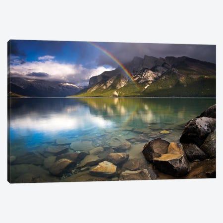 Rainbow Over Lake Minnewanka Canvas Print #ABU100} by Adam Burton Canvas Wall Art
