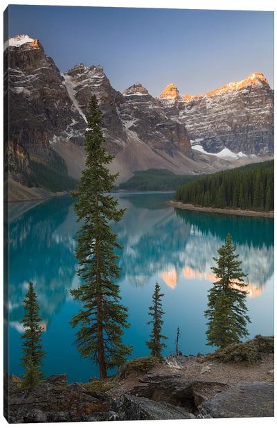 Sentries of Moraine Lake Canvas Print #ABU39