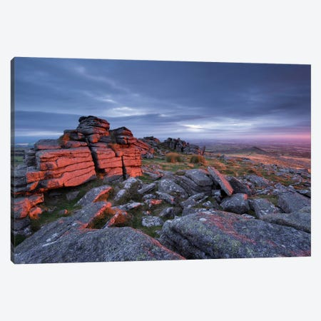 Belstone Fire Canvas Print #ABU6} by Adam Burton Art Print