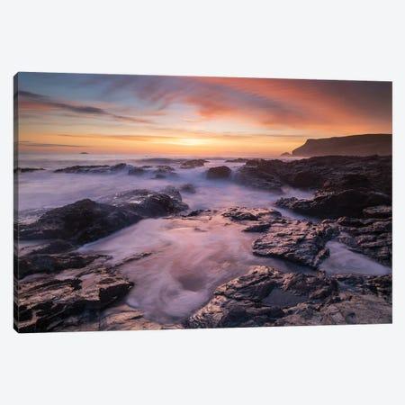 Cornish Sunset Canvas Print #ABU72} by Adam Burton Canvas Art