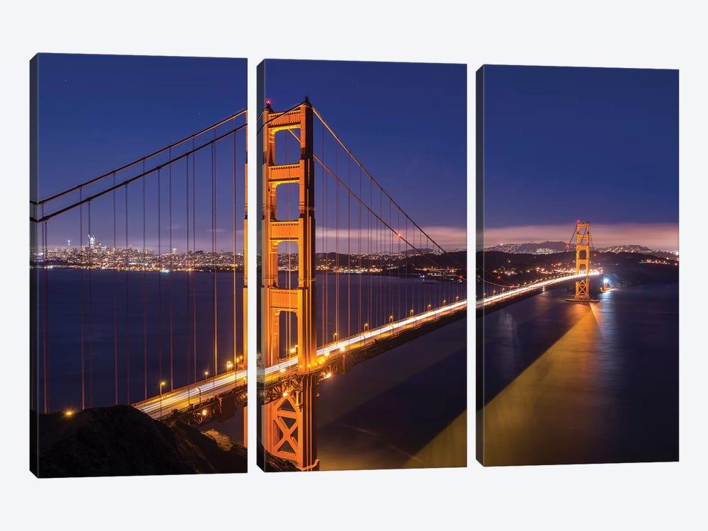 Golden Gate Bridge by Adam Burton 3-piece Canvas Art Print