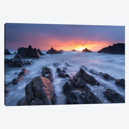 Hartland Quay Sunset Canvas Print #ABU81} by Adam Burton Canvas Art Print