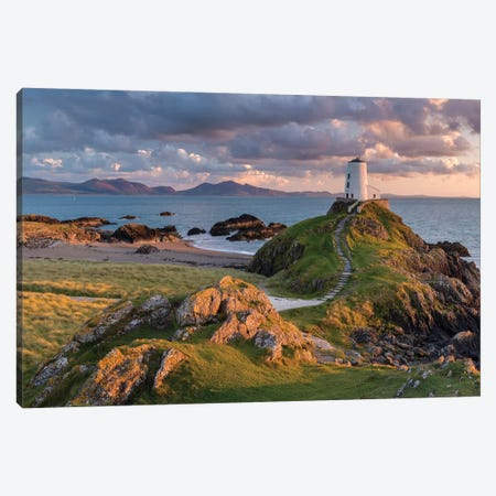 Llanddwyn Lighthouse Canvas Print #ABU84} by Adam Burton Canvas Art