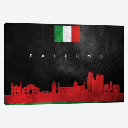 Palermo Italy Skyline Canvas Print #ABV100} by Adrian Baldovino Canvas Wall Art