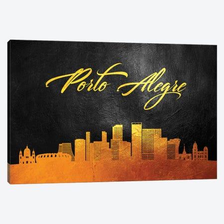 Porto Alegre Brazil Gold Skyline Canvas Print #ABV103} by Adrian Baldovino Canvas Artwork