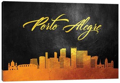 Porto Alegre Brazil Gold Skyline Canvas Art Print