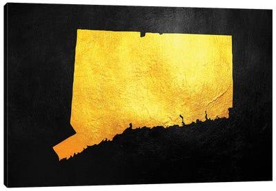 Connecticut Gold Map Canvas Art Print