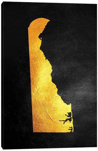 Delaware Gold Map Canvas Art Print