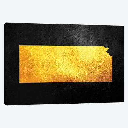 Kansas Gold Map Canvas Print #ABV1066} by Adrian Baldovino Canvas Artwork