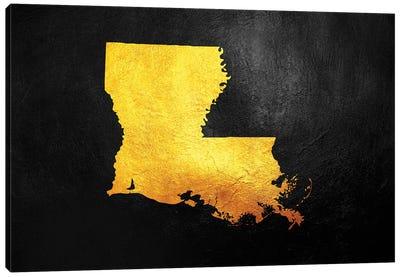 Louisiana Gold Map Canvas Art Print