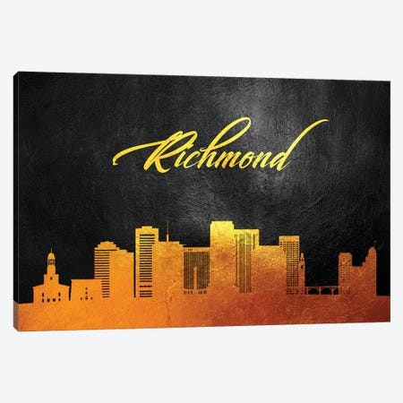 Richmond Virginia Gold Skyline Canvas Print #ABV106} by Adrian Baldovino Canvas Art Print