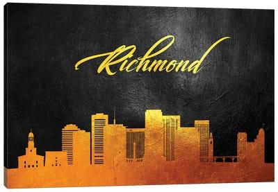 Richmond Virginia Gold Skyline Canvas Art Print