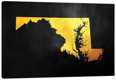 Maryland Gold Map Canvas Art Print
