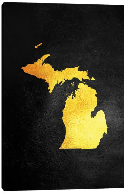 Michigan Gold Map Canvas Art Print