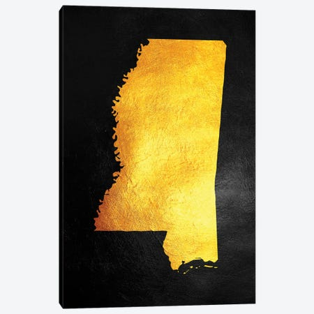 Mississippi Gold Map Canvas Print #ABV1074} by Adrian Baldovino Art Print