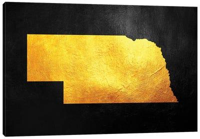 Nebraska Gold Map Canvas Art Print