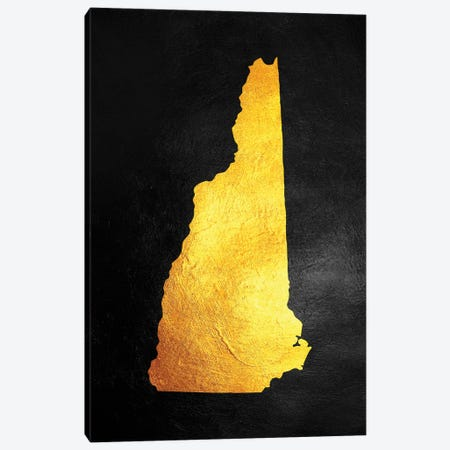 New Hampshire Gold Map Canvas Print #ABV1079} by Adrian Baldovino Canvas Wall Art