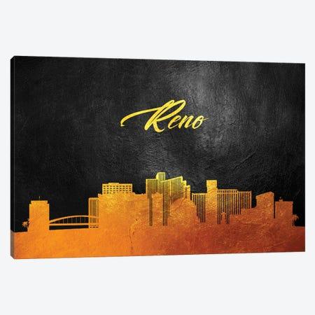 Reno Nevada Gold Skyline Canvas Print #ABV107} by Adrian Baldovino Canvas Print