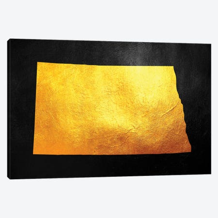 North Dakota Gold Map Canvas Print #ABV1084} by Adrian Baldovino Canvas Artwork