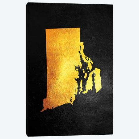 Rhode Island Gold Map Canvas Print #ABV1089} by Adrian Baldovino Art Print